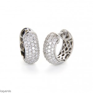 White gold hoop earrings with diamonds