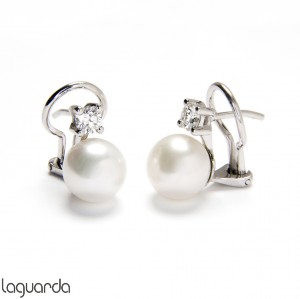 Earrings Tú y Yo white gold with pearls and natural diamonds