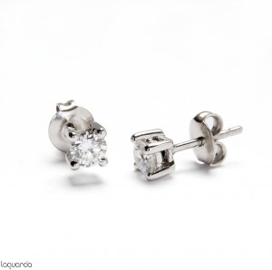 Pendientes oro blanco con diamante natural