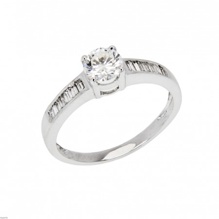 White gold solitaire with natural diamond