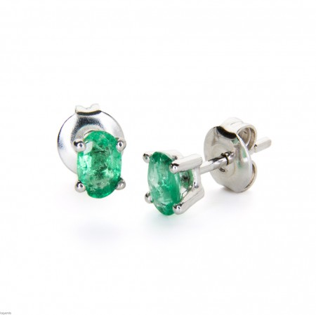 Earings in white gold  and emerald, Laguarda joiers s.l.