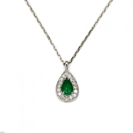 Pendant in 18k white gold with emerald and diamonds