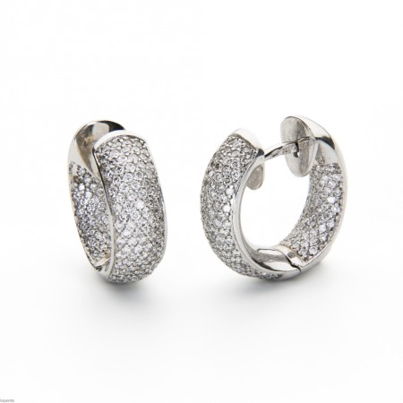 White gold hoop earrings with natural diamonds