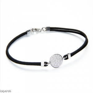 Bracelet with thread nautic, white gold and natural diamonds