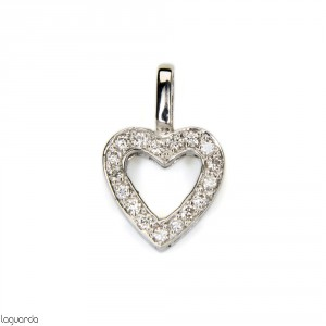 Heart pendant in 18k white gold with diamonds