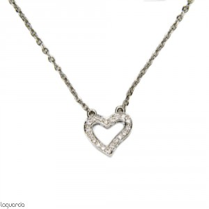 Heart pendant in 18k white gold with 19 natural diamonds and its chain