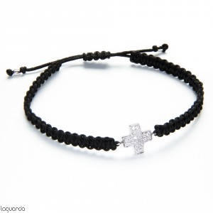 Macrame bracelet with cross of white gold and natural diamonds