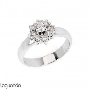 White gold ring with natural diamond rosette