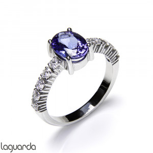 Solitaire white Gold, Tanzanite & Diamond