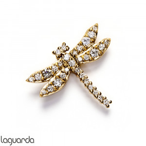 Pendant Dragon-fly in 18k yellow gold with natural diamonds