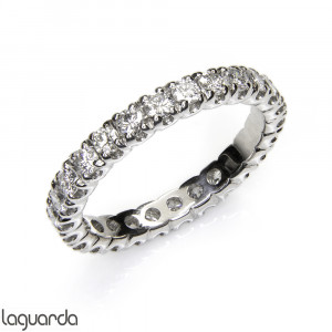 Eternity band ring with white gold and 27 natural diamonds