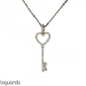 Key&Heart pendant in 18k white gold with diamonds